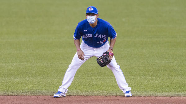 Rubén Tejada of the Toronto Blue Jays is pictured at an intrasquad game at Rogers Centre earlier this month in Toronto. The team received permission for preseason training at the stadium but the Canadian government will not allow regular season games in Canada.