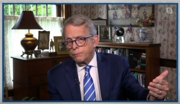 """Gov. Mike DeWine talked to journalists on """"The Sound of Ideas"""" on WCPN/ideastream Friday morning from his home in Cedarville via Skype."""