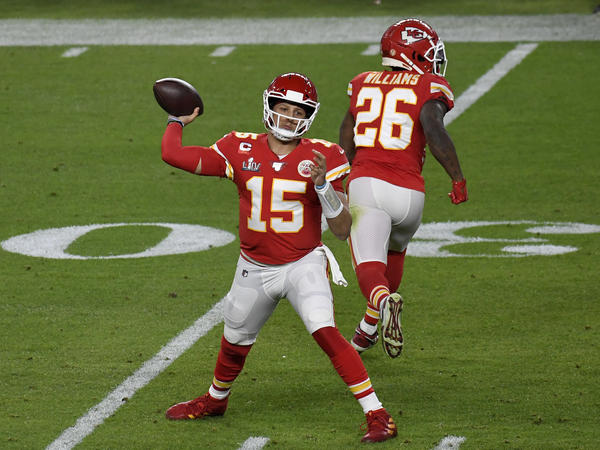 Patrick Mahomes (15) of the Kansas City Chiefs, shown here during a game in February, is one of the players speaking out on Twitter about the NFL's safety protocols.