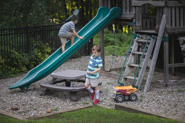 Conner Curran, 9, (right) and his brother Will, 7, at their home in Ridgefield, Conn., this week. The gene therapy treatment that stopped the muscle wasting of Conner's muscular dystrophy two years ago took more than 30 years of research to develop.