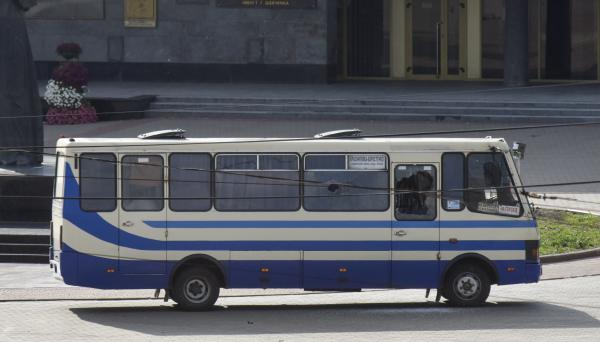 A gunman seized this bus and took 13 hostages in the city center of Lutsk, some 250 miles west of Kyiv, Ukraine, on Tuesday.