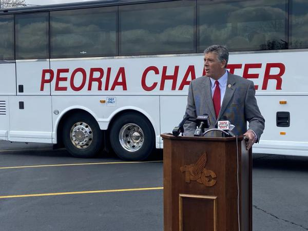 U.S. Rep. Darin LaHood speaks at a news conference April 15 in Peoria.