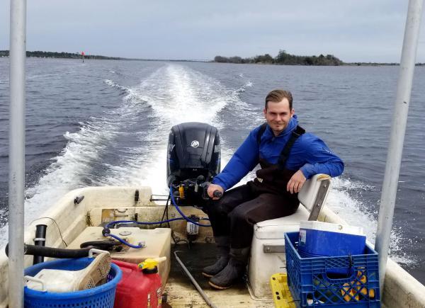 Evan Gadow commutes to work across Stump Sound.
