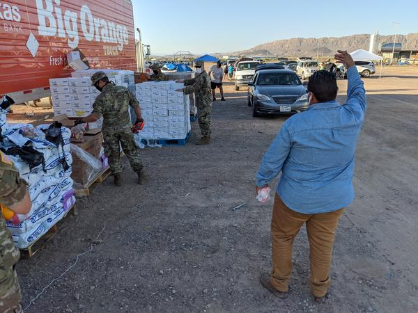 "National Guard and West Texas Food Bank Staff drove 250 miles to Presidio to distribute food. Without the Guard, food bank says it's ""Back to the drawing board"" on volunteer shortages."