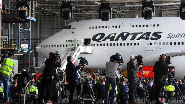 A Qantas Boeing 747-400, registration VH-OEJ in front of media at Sydney Airport for the last time as it retires from service on Wednesday.