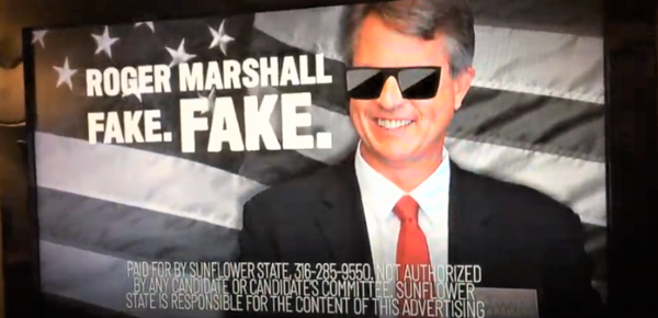 Screenshot of anti-Marshall ad produced by the Sunflower State PAC.