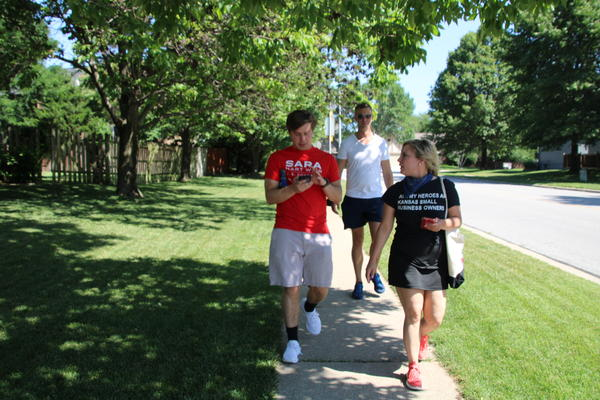 Sara Hart Weir crisscrossed an Olathe subdivision during a July 11 canvassing event.