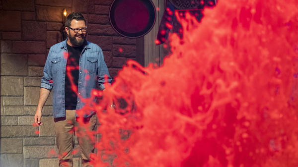 Rutledge Wood hosts the Netflix game show <em>Floor Is Lava, </em>which is shot in an old IKEA warehouse in Burbank, Calif.