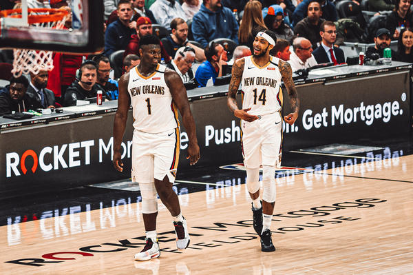 New Orleans Pelicans Zion Williamson and Brandon Ingram in a game against the Cleveland Cavaliers. Jan. 28, 2020.