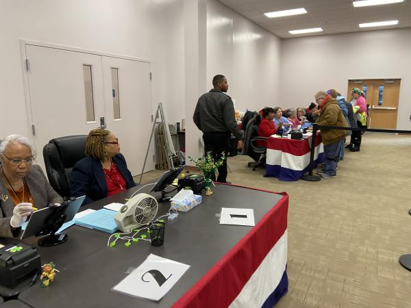 Poll workers at Franklin County's early voting center on Sunday, March 15, 2020, for the final day of weekend voting before the March 17 primary. In-person voting was cancelled a little over a day later because of COVID-19 concerns.