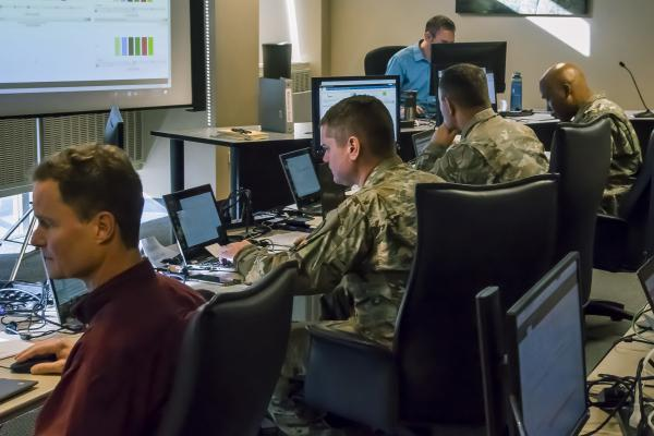 Members of the Colorado National Guard help monitor network traffic and advise the Secretary of State's office during the Nov. 2018 election. The Guard is once again helping protect elections against cyberattack in 2020.