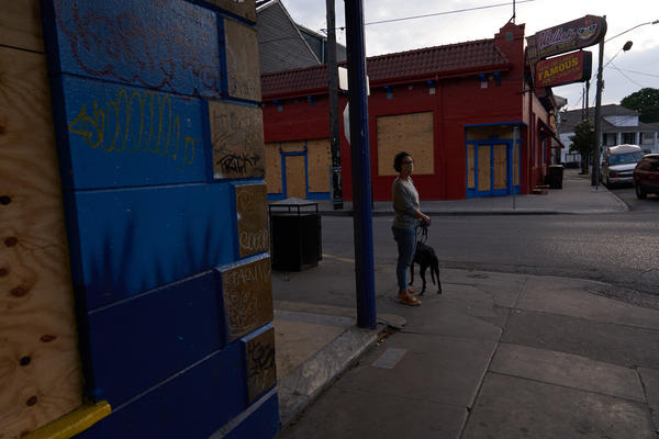 Businesses are boarded up on Frenchman Street, Tuesday afternoon. New Orleans, Louisiana.