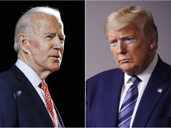 In this combination of file photos, former Vice President Joe Biden speaks in Wilmington, Del., and President Trump speaks at the White House.