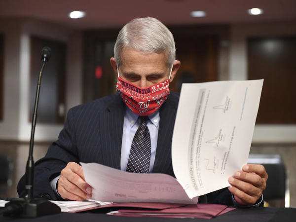 Dr. Anthony Fauci, director of the National Institute for Allergy and Infectious Diseases, prepares to testify before a Senate panel in June. Coronavirus cases could be on the rise in the Midwest, Fauci said Tuesday.