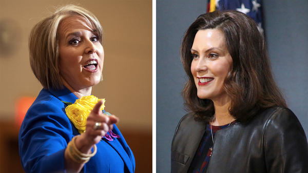 New Mexico Gov. Michelle Lujan Grisham (left) and Michigan Gov. Gretchen Whitmer are among those thought to be on Joe Biden's vice presidential shortlist.