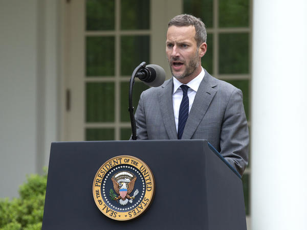 Adam Boehler, chief executive officer of U.S. International Development Finance Corporation (DFC), speaks at the White House in April.