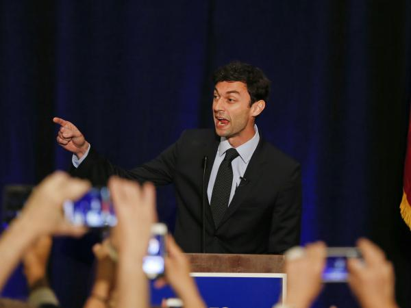 "Jon Ossoff, seen here in 2017, has criticized an ad by his Republican rival, David Perdue, as ""unbecoming of a sitting U.S. senator."""