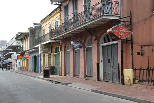 Businesses are closed along Bourbon Street and throughout New Orleans in response to the spread of coronavirus. March 19, 2020.