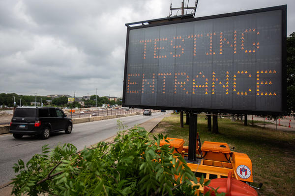 A mobile coronavirus testing center off of Interstate 35 in North Austin.