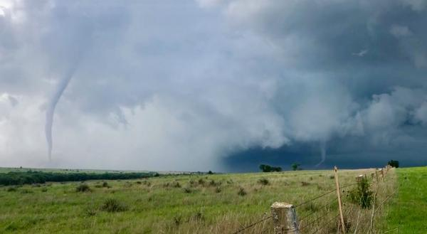 Tornadoes form near Luray, Kansas, in May 2019.