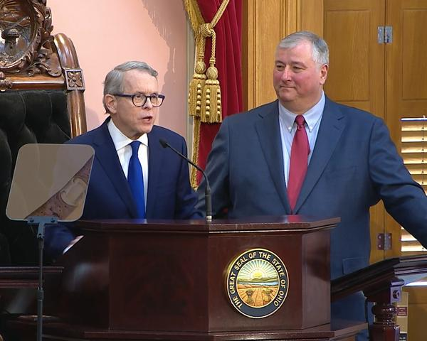 Gov. Mike DeWine was flanked by House Speaker Larry Householder (R-Glenford) when he delivered his first State of the State speech in March 2019.