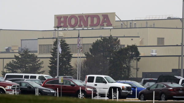 The Honda Marysville Auto Plant is shown, Wednesday, March 18, 2020, in Marysville, Ohio.