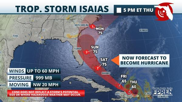The 5 p.m. Thursday update for Tropical Storm Isaias