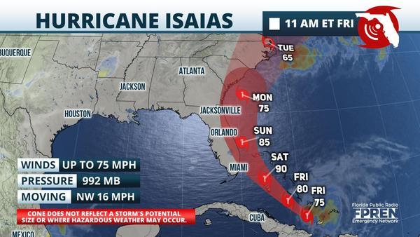 11 AM Isaias Forecast Track
