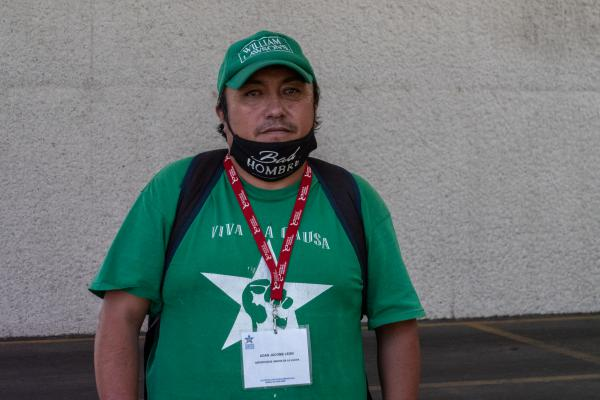 Adan Jacome Leon is a volunteer with activist group Deportados Unidos en la Lucha. He arrives at Mexico City International Airport on Friday July 10, 2020 to welcome two flights full of Mexican migrants that are expelled from the U.S.