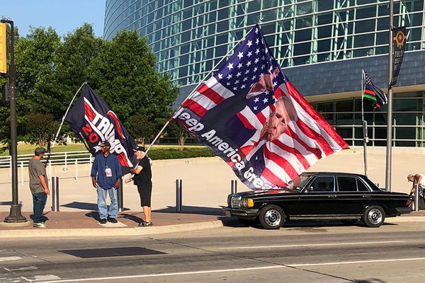Several Trump supporters stand outside BOK Center in Tulsa on Thursday, June 18, 2020.