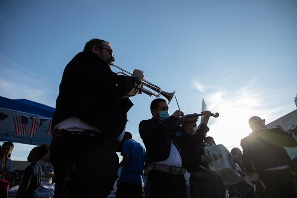A mariachi band played traditional Mexican funeral songs during the vigil.
