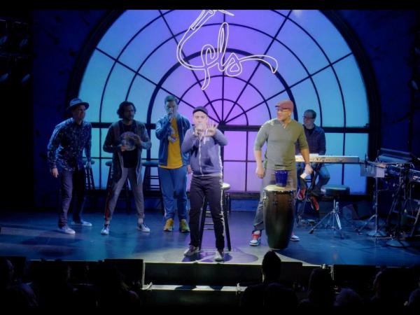 Lin-Manuel Miranda and members of the hip-hop group Freestyle Love Supreme perform at the Greenwich House Theater.