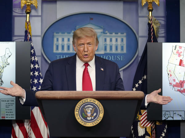 President Donald Trump speaks during a news conference Thursday at the White House.