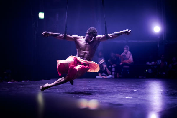 Phelelani Ndakrokra completes an aerial act at a Zip Zap circus show in Cape Town, South Africa.