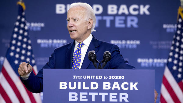 Democratic presidential candidate former Vice President Joe Biden speaks at a campaign event in Wilmington, Del., Tuesday, July 28, 2020.