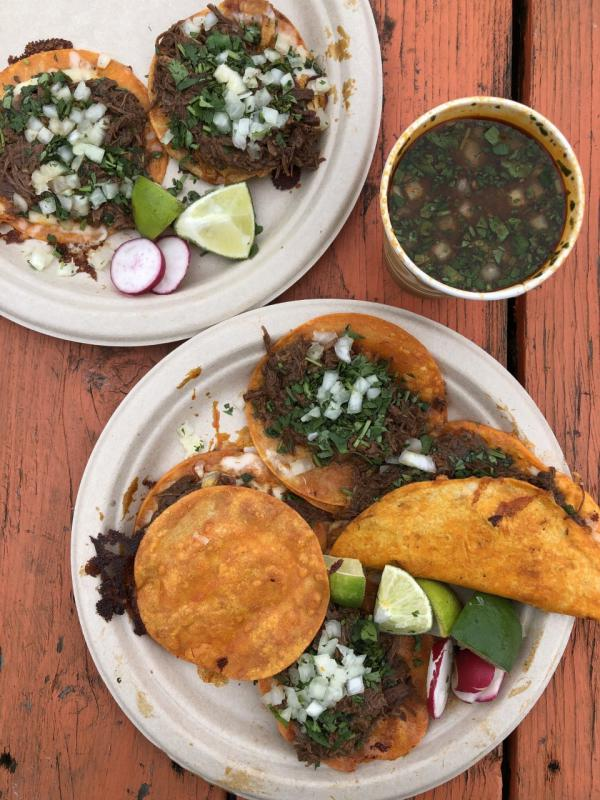 Birrieria La Plaza in East Portland specializes in the Jaliscan stewed beef or mutton birria de res. Best paired with a cup of rich consomme. A lunch shared by SIX FEED co-authors Samantha Bakall and Jonathan Kauffman.