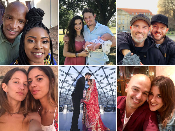 Thousands of couples have been separated by pandemic-related travel restrictions. Some have managed to reunite, but many are still trying to find a way. (Clockwise from top left: Johannes Mahele and Joresa Blount, Corsi Crumple and Sean Donovan, Todd Alsup and Sebastian Pindel, Marissa Daniela and Yoel Díaz Cuní, Rezan al-Ibrahim and Aysha Shedbalka, and Yahli Maoz and Gemma González.)