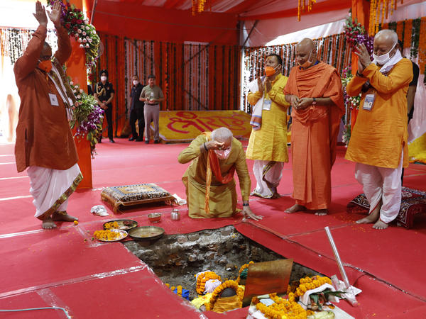 Indian Prime Minister Narendra Modi (center) performs the groundbreaking ceremony of a temple dedicated to the Hindu god Lord Ram in Ayodhya, India, on Wednesday.