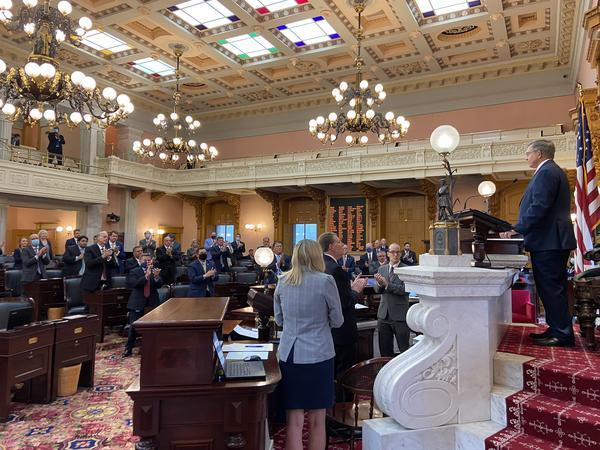 Newly-elected Speaker Bob Cupp (R-Lima) looks at the House as he receives a standing ovation after his first address as Speaker.