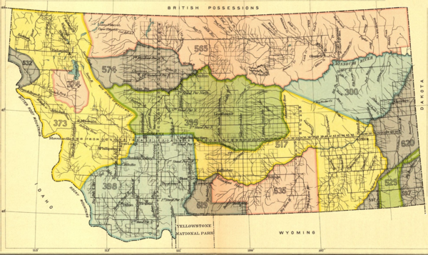 An 1899 US Government map outlines Indian territories in the state of Montana.