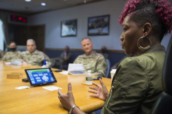Risha Grant, an inclusion and bias expert, holds a closed-door discussion with leaders at Joint Base McGuire-Dix-Lakehurst, N.J. June 30. Throughout the summer, the Air Force has been holding town halls and trainings about racial injustice.