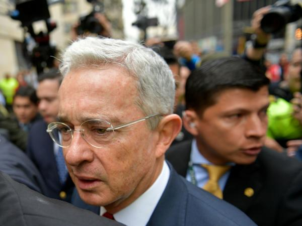 Former Colombian President (2002-2010) and Sen. Álvaro Uribe goes to a hearing before the Supreme Court of Justice in a case over witness tampering in Bogotá, Colombia, on Oct. 8, 2019. The Supreme Court has now ordered Uribe be put under house arrest.