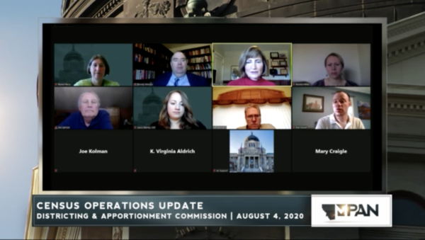 The Montana Districting and Apportionment Commission discusses census turnout during a meeting on Aug. 4, 2020.