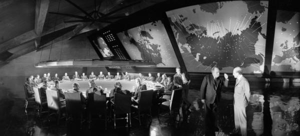 Since Aug. 6, 1945, artists of every stripe have had to reckon with a world forever altered by nuclear weapons — Hollywood included. Above, Stanley Kubrick's 1964 film, <em>Dr. Strangelove or: How I Learned to Stop Worrying and Love the Bomb</em>.