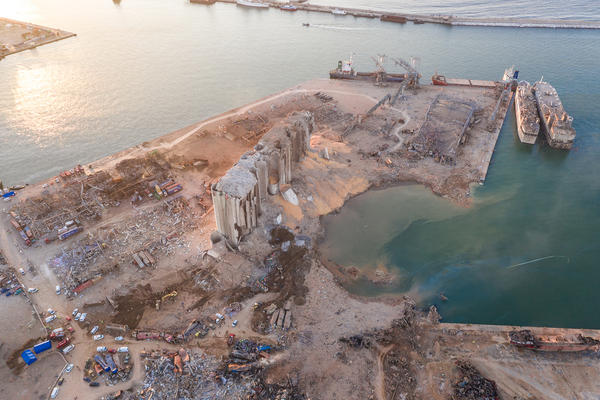 An aerial view of demolished structures at the port, damaged by Tuesday's explosion in Beirut, Lebanon on Wednesday. The enormous blast, which officials said was driven by thousands of tons of ammonium nitrate, killed at least 137 people and injured thousands more.