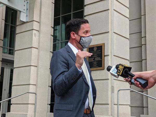 Matthew Block, Executive Legal Counsel for La. Gov. John Bel Edwards addresses the media outside the 19th JDC Courthouse. Baton Rouge, La. August 5, 2020.