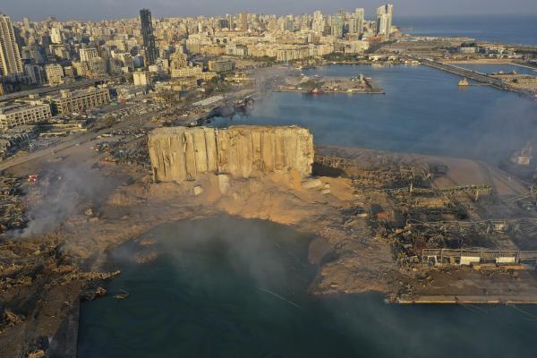 Smoke rises from the scene of an explosion Wednesday at the port in Beirut, Lebanon.