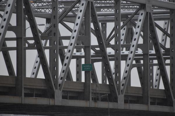The sign noting the Tazewell/Peoria county border on the Murray Baker Bridge, as seen in this January 2020 file photo.