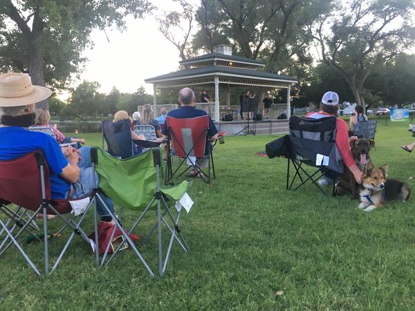 A local gospel quintet entertains Sterling residents on a recent Tuesday evening.