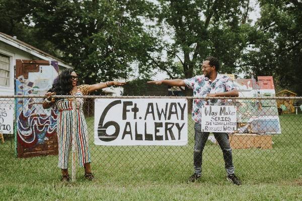 Artists Shawana Brooks and her husband Roosevelt Watson III started the 6 Ft. Away Gallery in their yard in Jacksonville, Florida. They created it as a way to showcase Roosevelt's art at a time when galleries were closed due to the pandemic.